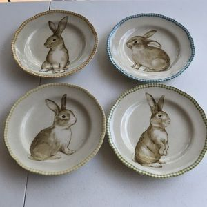 222 fifth bunny land set of 4 bunny plates